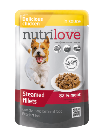 NUTRILOVE PREMIUM CHUNKS IN SAUCE WITH CHICKEN - 85G x 12