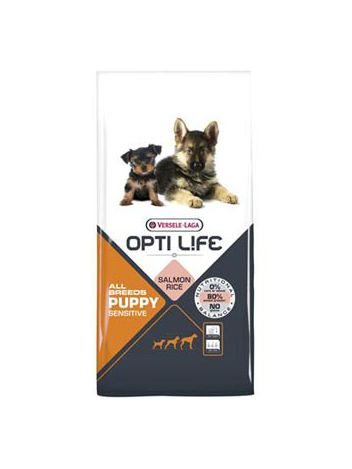 OPTI LIFE PUPPY SENSITIVE SALMON - 12,5KG + DENTASTIX 45G GRATIS!