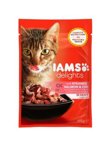 IAMS DELIGHTS WITH STEAMED SALMON & COD IN GRAVY 85G