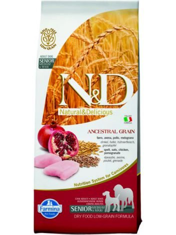 FARMINA N&D LOW GRAIN CHICKEN & POMEGRANATE SENIOR MEDIUM/MAXI - 12KG