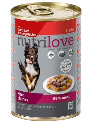 NUTRILOVE PREMIUM CHUNKS BEEF LIVER AND VEGETABLES IN JELLY - 6x415G