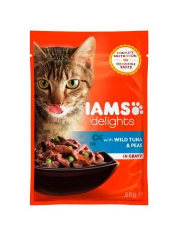 IAMS DELIGHTS WITH WILD TUNA & PEAS IN GRAVY 85G