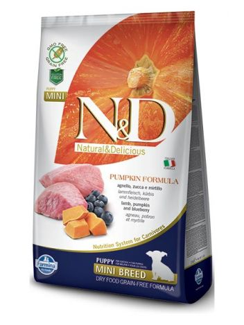 FARMINA N&D GRAIN FREE PUMPKIN LAMB & BLUEBERRY PUPPY MINI - 7KG