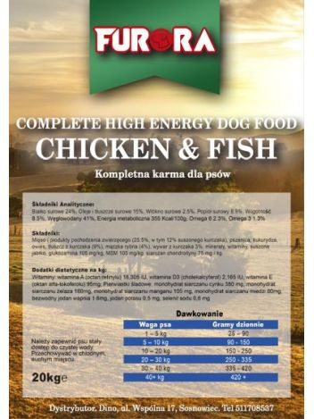 FURORA HIGH ENERGY CHICKEN & FISH - 40KG (20KGx2)