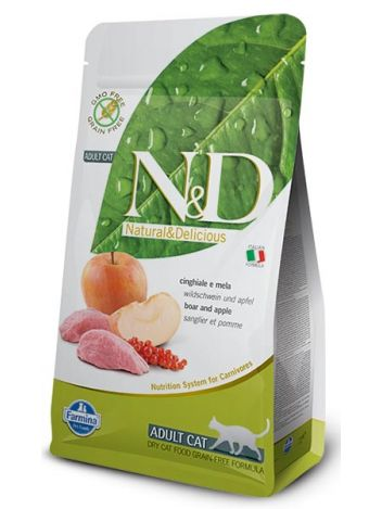 FARMINA N&D GRAIN FREE BOAR & APPLE ADULT CAT - 400G