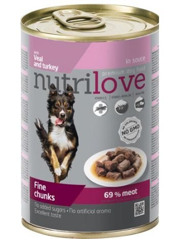 NUTRILOVE PREMIUM CHUNKS VEAL AND TURKEY IN SAUCE - 415G