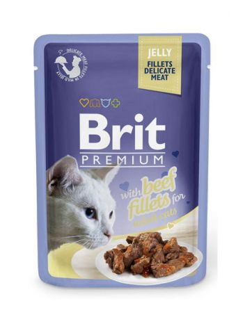 BRIT CAT POUCHES JELLY FILLETS WITH BEEF - 85G