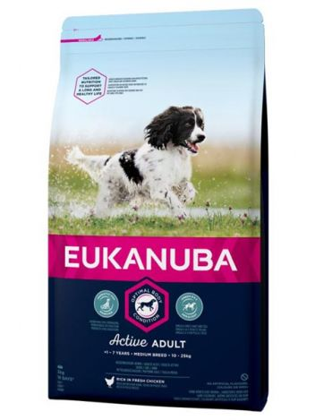 EUKANUBA ACTIVE ADULT MEDIUM - 30KG (15KGx2)