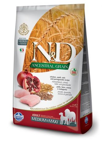 FARMINA N&D ANCESTRAL GRAIN CHICKEN & POME ADULT MEDIUM/MAXI - 12KG