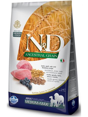 FARMINA N&D ANCESTRAL GRAIN LAMB & BLUEBERRY ADULT MEDUM & MAXI - 12KG