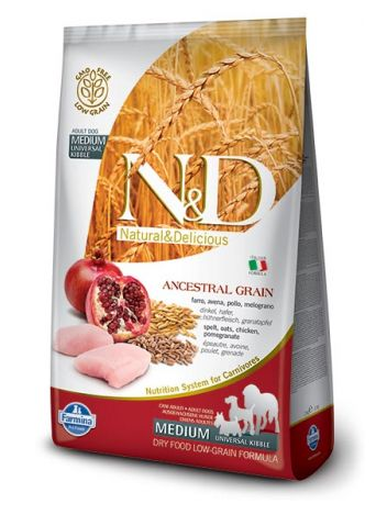 FARMINA N&D LOW GRAIN CHICKEN & POMEGRANATE ADULT MEDIUM - 800G