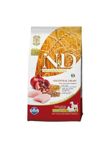 FARMINA N&D LOW GRAIN CHICKEN & POMEGRANATE LIGHT MINI & MEDIUM - 800G