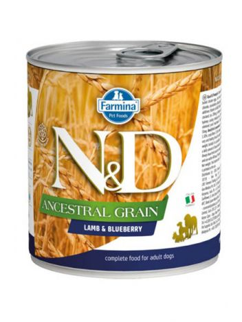 FARMINA N&D DOG ANCESTRAL GRAIN LAMB & BLUEBERRY - 285G + 285G GRATIS!