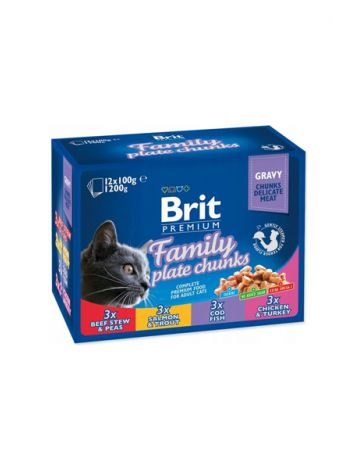BRIT CAT POUCHES FAMILY PLATE 1200G (12x100G)