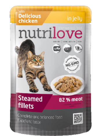 NUTRILOVE PREMIUM CHUNKS WITH CHICKEN IN JELLY - 12x85G