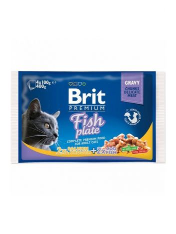 BRIT CAT POUCHES FISH PLATE 400G (4x100G)