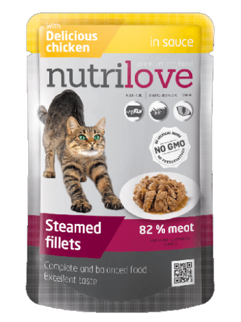 NUTRILOVE PREMIUM CHUNKS WITH CHICKEN IN SAUCE - 12x85G