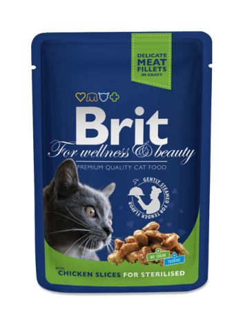 BRIT CAT POUCHES CHICKEN SLICES FOR STERILISED - 100G