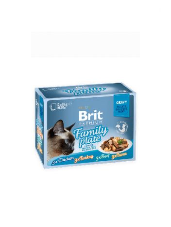 BRIT CAT POUCH GRAVY FILLET FAMILY PLATE 1020G (12x85G)