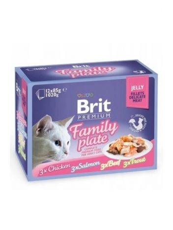 BRIT CAT POUCH JELLY FILLET FAMILY PLATE 1020G (12x85G)