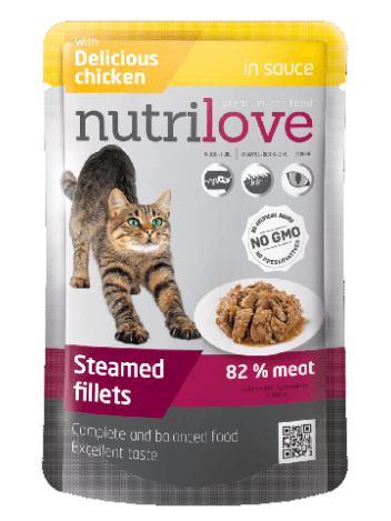 NUTRILOVE PREMIUM CHUNKS WITH CHICKEN IN SAUCE - 85G x 24