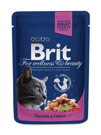 BRIT CAT POUCHES SALMON & TROUT - 100G