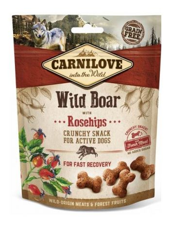 CARNILOVE CRUNCHY SNACK WILD BOAR ROSEHIPS FRESH MEAT 200G