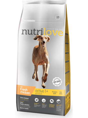 NUTRILOVE PREMIUM ACTIVE FRESH CHICKEN - 12KG (3KGx4)